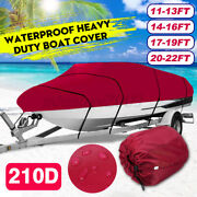 210d 11-22ft Heavy Duty Boat Cover Waterproof Fit Fish Ski Bass V-hull Runabouts