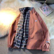 Menand039s Jacket Trend Stand-up Collar Loose Reversible Clothes Plaid Jacket