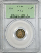 1869 H10c Seated Liberty Half Dime Pcgs Pr 65 Proof Ogh Old Holder Toned Coin