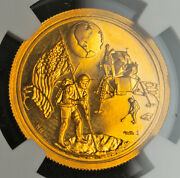 1969, United States. Proof Gold Apollo 11/moon Landing Medal. 4gm Ngc Pf64