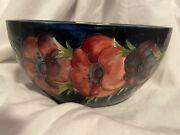 Moorcroft Pottery Oval Vase Bowl In Anemone On Blue Made In England