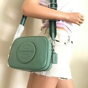 Nwt Coach Leather Dempsey Zip Crossbody Camera Bag C2828 Washed Green