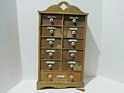Antique Primitive German Spice Wall Chest/cabinet W/ Porcelain Labels And Pulls