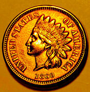 1860 Indian Head Cent Pointed Bust Choice/gem Bu Red