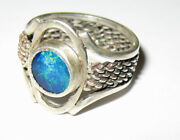 World Class Hand Made Well Crafted Silver Ring With Opal Crystal Setting Sz7.5