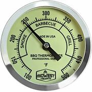 Midwest Hearth Bbq Smoker Thermometer For Barbecue Grill, Pit, Barrel 3 Dial