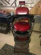 Emil J Paidar Antique Barber Chair Red And Black Great Condition Made In Chicago