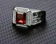 Natural Garnet Gemstone With 925 Sterling Silver Ring For Menand039s Eg907
