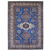 8and03910x12and039 Super Kazak Geometric Design Blue Hand Knotted 100 Wool Rug R67995