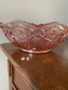 Smith Carnival Glass Iridescent Pink Star And Panel Bowl 3 1/4 Tall 8 Across.