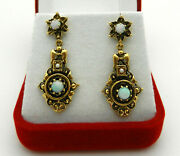 Antique Victorian Beautiful Design In 14k Yellow Gold Opal Seed Pearl Earrings