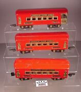 Pre War American Flyer Train 3 Pullman Lighted Cars Tin Metal In Red O Scale