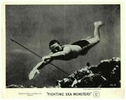 Fighting Sea Monsters Original Lobby Card 1940and039s Oceanography Spear Fish Diver