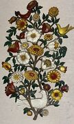 Vintage 1965 Syroco Inc. Floral Bird Wall Plaque Hanging 30 Tall