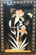 Black Marble Dining Table Top With Floral Inlay Furniture Art Decor Garden H4495