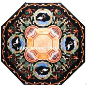 Marble Inlaid Dining Table Top Bird With Grapes Floral Marquetry Cafeteria M219