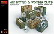Miniart 135 Scale Model Kit - Milk Bottles And Wooden Crates  Min35573