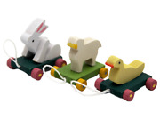Dolls House 3 Animal Pull Toys Miniature 112 Scale Nursery Toy Shop Accessory