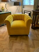 Ex Display George Smith Yellow Mohair Channeled Armchair Rrp Andpound6300