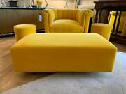 Ex Display George Smith Yellow Mohair Ilse Crawfordfootstool Stool Rrp Andpound3140