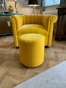 Ex Display George Smith Round Drum Stool Mohair Yellow Ilse Crawford Rrp Andpound1950