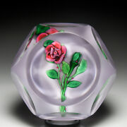 Saint Louis 1978 Dark Pink Rose And Bud Faceted Glass Paperweight