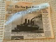 Vintage Collectible Ny Times, April 16, 1912 Reproduction Newspaper Free Shipp