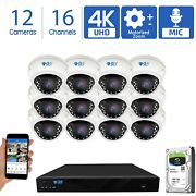12 4k 8mp Motorized Zoom Ip Microphone Poe Nvr Ai Dome Security Camera System