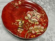 222 Fifth Gabrielle Red Floral 9 Round Appetizer Salad Plate S - Multi Avail