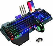 Wireless Gaming Keyboard And Mouse,rainbow Backlit Rechargeable Black Rainbow