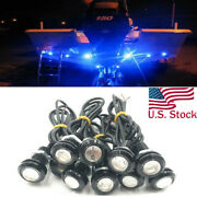 6x Blue Led Boat Light Silver Waterproof Outrigger Spreader Transom Underwater