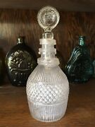 Antique 1830s Boston And Sandwich Blown Mold Glass Decanter Bottle W/ Stopper Nice
