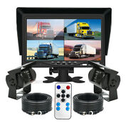 7 Quad Monitor Split Screen 2x Ir Ccd Rear View Camera 2x 10m Package For Truck