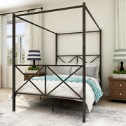 Metal Bed Frame Queen Full Canopy Bed W/headboardand Footboard Bedroom Furniture