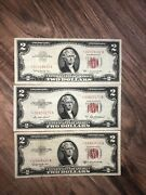 2 1953 1 1963 2 Dollar Bill Red Seal United States Star Note Higher Grade