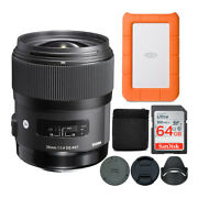 Sigma 35mm F/1.4 Art Dg Hsm Lens For Canon Dslr Cameras With 64gb Sd Card Bundle