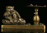 Collect Old China Copper Inlay Gem Monkey Frog Statue Candle Holder Candlestick