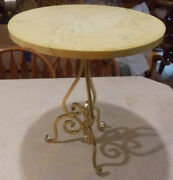 Mid Century Gold Metal Marble Top Plant Stand Ps92