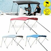 600d 3 Bow Boat Bimini Top Roof Cover With Boot And Rear Poles And Frame 6ft Long