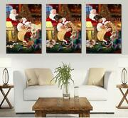 Christmas Sleeping Santa With Gifts Dogs Cats Canvas Print Wall Art Home Decor