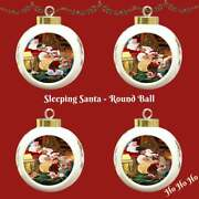 Santa Sleeping With Gifts Dogs Cats Round Ball Christmas Tree Ornament Décor