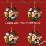 Santa Sleeping With Gifts Dogs Cats Round Flat Christmas Tree Ornament