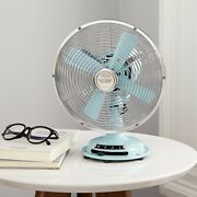 Better Homes And Gardens 8'' Retro 3-speed Metal Table Fan, Mint'