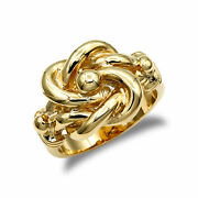 Mens Solid 9ct Yellow Gold Double Knot Ring
