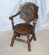 Antique Oak Carved Back Arm Chair Andndash The Smoker