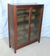 Antique Mission Oak Double Door Bookcase Andndash 36andprime Wide - Arts And Crafts Style