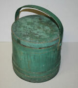 Antique Wooden Firkin Bucket With Wooden Lid Andndash Old Green Paint