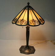 Antique Bradley And Hubbard Signed Panel Lamp – 3 Sockets