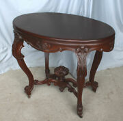 Antique Victorian Mahogany Oval Shaped Parlor Center Table – Carved Fruit Basket