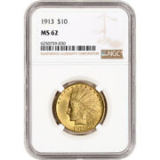 1913 Us Gold 10 Indian Head Eagle - Ngc Ms62